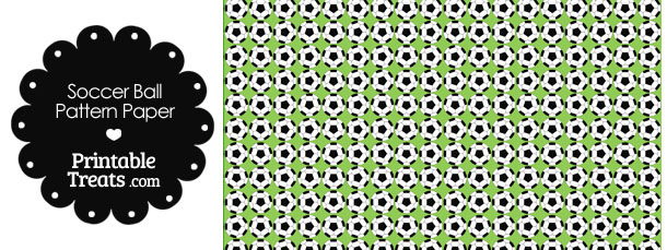 Light Green Soccer Ball Pattern Digital Scrapbook Paper