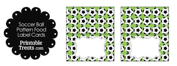 Light Green Soccer Ball Pattern Food Labels