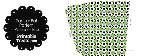 Light Green Soccer Ball Pattern Popcorn Box