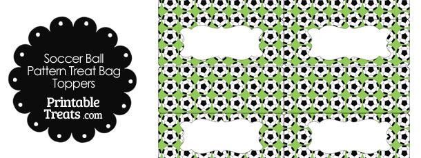 Light Green Soccer Ball Pattern Treat Bag Toppers