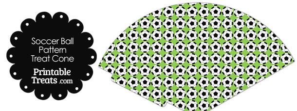Light Green Soccer Ball Pattern Treat Cone