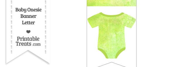 Light Green Watercolor Baby Onesie Bunting Banner Blank Spacer Flag