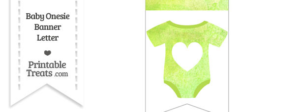 Light Green Watercolor Baby Onesie Bunting Banner Heart End Flag