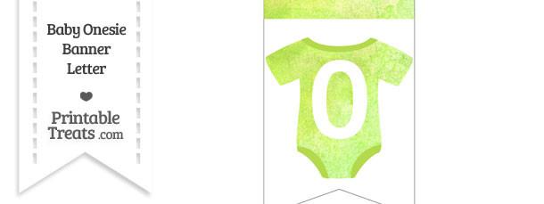 Light Green Watercolor Baby Onesie Bunting Banner Number 0