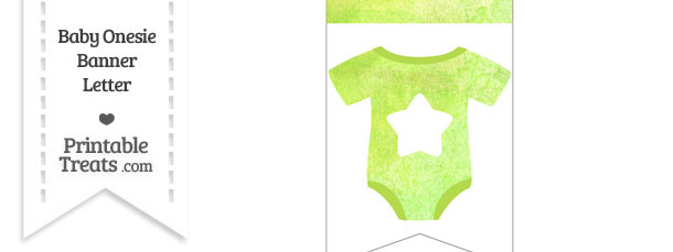 Light Green Watercolor Baby Onesie Bunting Banner Star End Flag