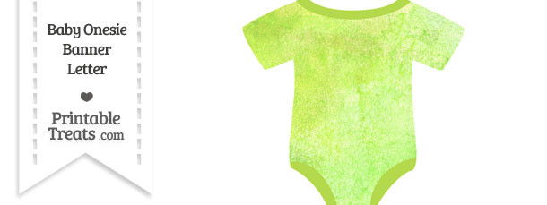 Light Green Watercolor Baby Onesie Shaped Banner Blank Spacer Flag