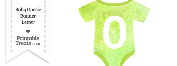 Light Green Watercolor Baby Onesie Shaped Banner Number 0