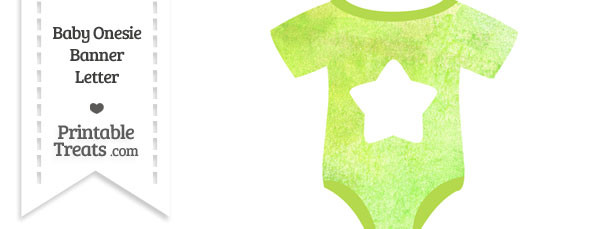 Light Green Watercolor Baby Onesie Shaped Banner Star End Flag