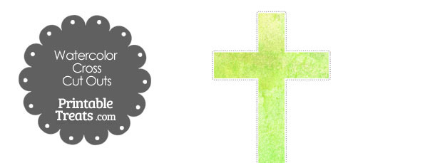 Light Green Watercolor Cross Cut Outs