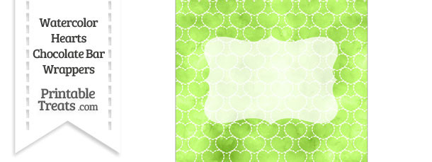 Light Green Watercolor Hearts Chocolate Bar Wrappers