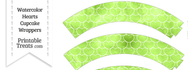 Light Green Watercolor Hearts Cupcake Wrappers
