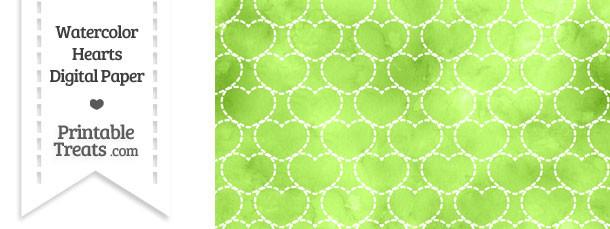 Light Green Watercolor Hearts Digital Scrapbook Paper