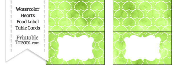 Light Green Watercolor Hearts Food Labels