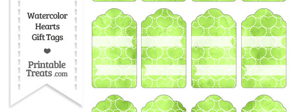 Light Green Watercolor Hearts Gift Tags