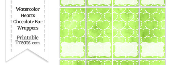 Light Green Watercolor Hearts Mini Chocolate Bar Wrappers