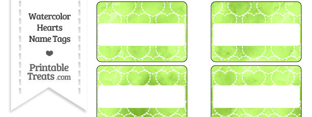 Light Green Watercolor Hearts Name Tags