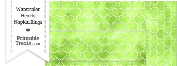 Light Green Watercolor Hearts Napkin Rings