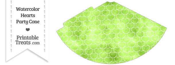 Light Green Watercolor Hearts Party Cone