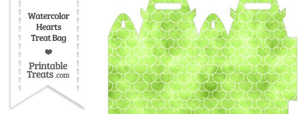 Light Green Watercolor Hearts Treat Bag
