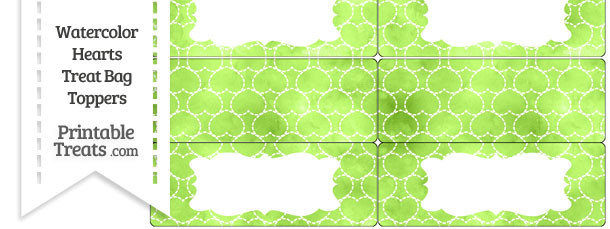 Light Green Watercolor Hearts Treat Bag Toppers