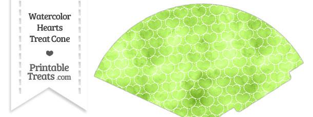 Light Green Watercolor Hearts Treat Cone