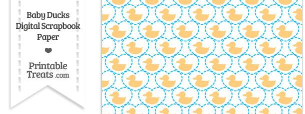 Light Orange Baby Ducks Digital Scrapbook Paper