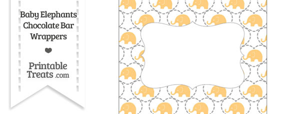 Light Orange Baby Elephants Chocolate Bar Wrappers