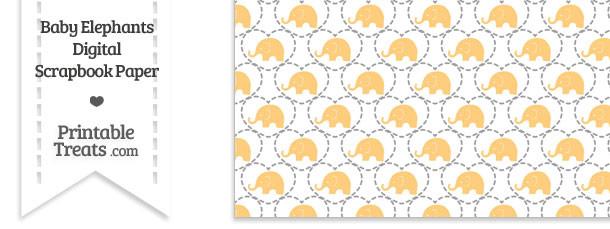 Light Orange Baby Elephants Digital Scrapbook Paper