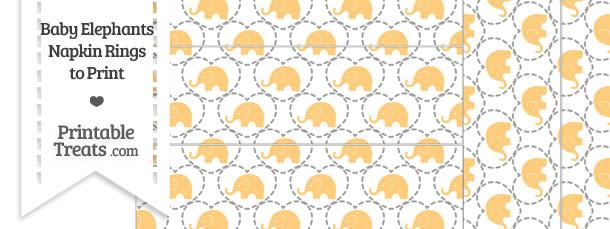 Light Orange Baby Elephants Napkin Rings