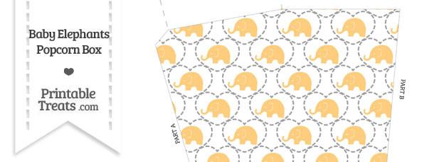Light Orange Baby Elephants Popcorn Box