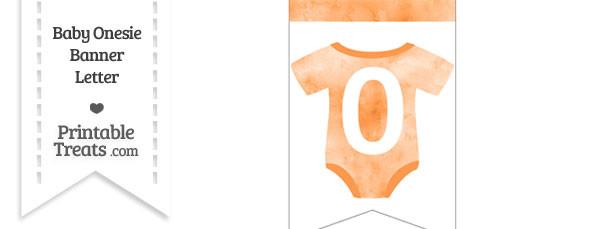 Light Orange Watercolor Baby Onesie Bunting Banner Number 0