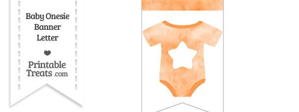 Light Orange Watercolor Baby Onesie Bunting Banner Star End Flag