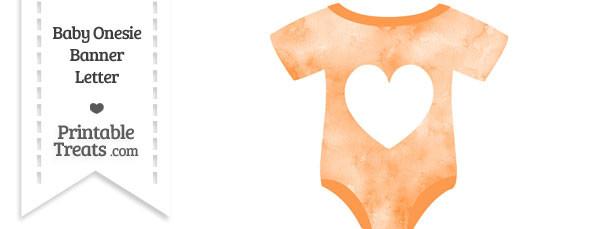 Light Orange Watercolor Baby Onesie Shaped Banner Heart End Flag