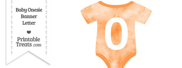 Light Orange Watercolor Baby Onesie Shaped Banner Number 0