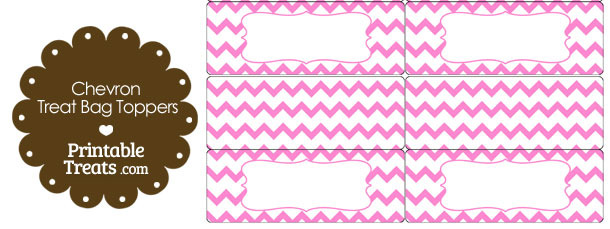 Light Pink Chevron Treat Bag Toppers