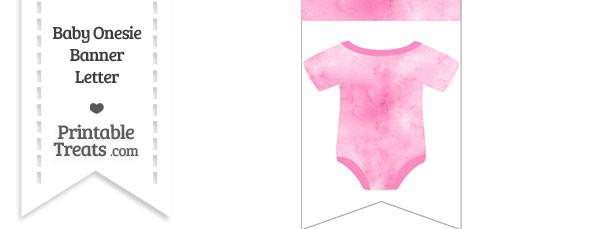 Light Pink Watercolor Baby Onesie Bunting Banner Blank Spacer Flag