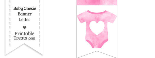 Light Pink Watercolor Baby Onesie Bunting Banner Heart End Flag