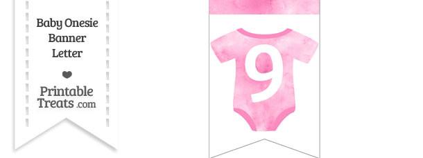 Light Pink Watercolor Baby Onesie Bunting Banner Number 9