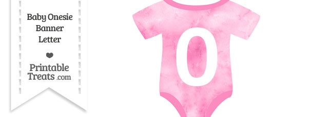 Light Pink Watercolor Baby Onesie Shaped Banner Number 0
