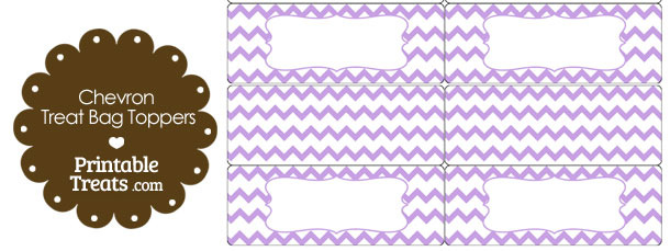 Light Purple Chevron Treat Bag Toppers