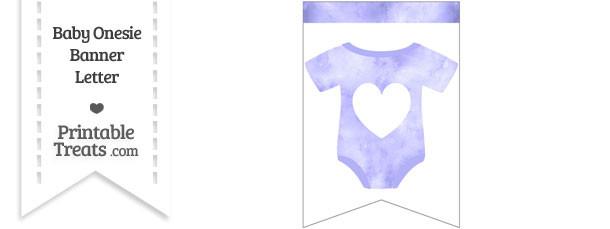 Light Purple Watercolor Baby Onesie Bunting Banner Heart End Flag