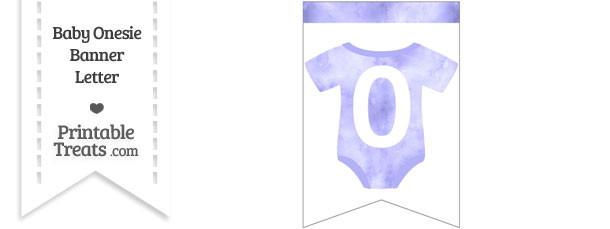 Light Purple Watercolor Baby Onesie Bunting Banner Number 0