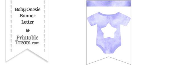 Light Purple Watercolor Baby Onesie Bunting Banner Star End Flag