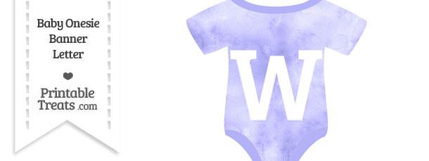 Light Purple Watercolor Baby Onesie Shaped Banner Letter W
