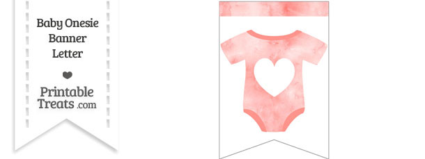 Light Red Watercolor Baby Onesie Bunting Banner Heart End Flag