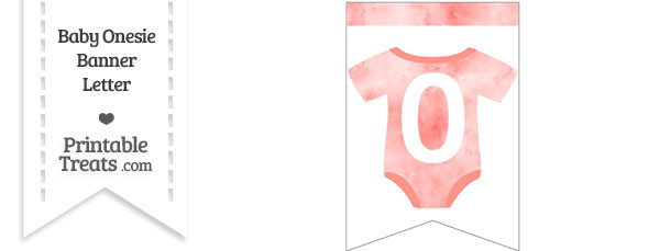 Light Red Watercolor Baby Onesie Bunting Banner Number 0