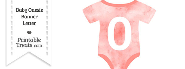 Light Red Watercolor Baby Onesie Shaped Banner Number 0