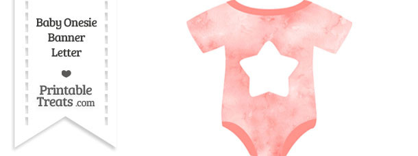 Light Red Watercolor Baby Onesie Shaped Banner Star End Flag