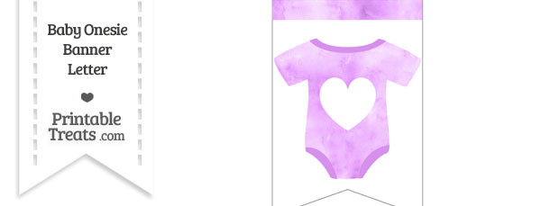 Light Violet Watercolor Baby Onesie Bunting Banner Heart End Flag