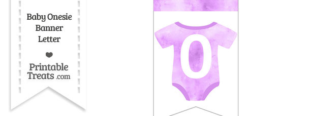 Light Violet Watercolor Baby Onesie Bunting Banner Number 0